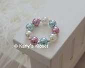 Ivory, Light Purple & Aqua Blue Pearl Newborn Baby Girl Bracelet, Newborn Jewelry, Photo Props, Baby Bracelets, Neutral Girls Prop