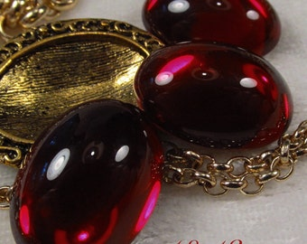 CZECH GLASS - 18x13mm Cabochon - Garnet - 3 pcs : sku 07.25.13.15 - S33