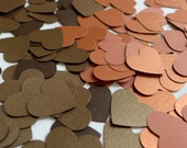 Shiny and magical wedding - 100 shimmery metallic brown coffee and copper cinnamon paper hearts confetti - 100 die cut heart confetti table