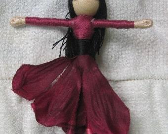 Burgundy Fairy Doll, Garden fairy, Flower fairy doll, small fairy doll
