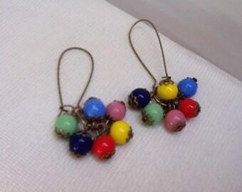 Vintage Art Deco Czech Glass Beaded Harlequin Earrings   Opaque glass rainbow coloured bold Dangle Drop Cluster Earrings