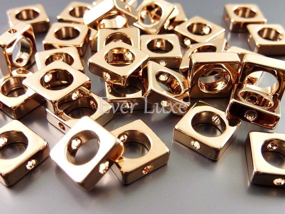 8 Large abstract square with open circle beads, rose gold jewelry beads, beads, craft supplies 1950-BRG-LG (bright rose gold, LG, 8 pieces)