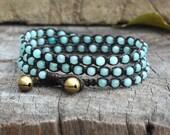 Aquamarine Triple Wrap Bracelet