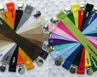 Solid Color Soothie / Pacifier Clip (blues, pinks, red, gray, purples, black, yellow, orange, greens, white, browns)
