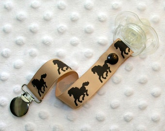 Brown Horses Pacifier Clip Soothie Clip Holder