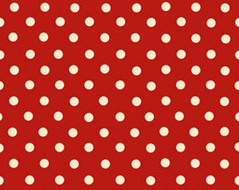 Exclusively Quilters Christmas Red Fabric With White Polka Dots Fabric 1 Yard....All About Cofee Collection