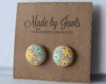 Fabric Button Earrings - April Showers - Buy 3, get 1 free