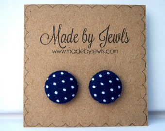 Fabric Button Earrings - Navy & White Dot - Buy 3, get 1 FREE
