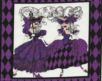 Loralie Masquerade party pretty Lady quilt fabric one block