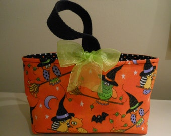 Handmade Halloween Trick-Or-Treat Candy Bucket Tote Basket -Halloween glitter fabric