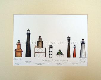 """Texas Lighthouses Art Signed Robert Kline Matted 11"""" x 14"""" Print Nautical Gift Beach Home Decor Sabine Pass Bolivar Point Galveston Jetty"""