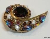 Reserved Vintage Florenza Art Glass Brooch Rhinestones Faux Pearls