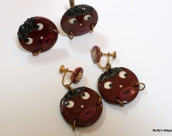 SALE  Vintage Black Americana Cuff Links and Earrings Set Folk Art