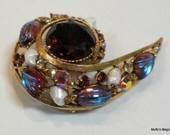 Vintage Florenza Art Glass Brooch Rhinestones Faux Pearls