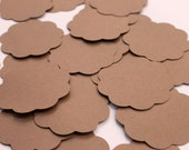 50 Scallop Tags Kraft Paper Gift Tag 2.5 inch READY TO SHIP Scrapbooking Journaling Spots Supply Thank you Card Stock Die Cuts Label Craft