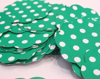 50 Scallop Tags Christmas Green Polka Dot Gift Tag 2.5 inch READY TO SHIP Scrapbooking Journaling Spots Topper Supply Thank you Card Stock