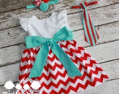 Seuss Inspired Red and Aqua Boy Girl TwinsDress with Flutter Sleeves and Sash 6-12m 12-18m 24m/2t 3t and Boys Velcro Tie
