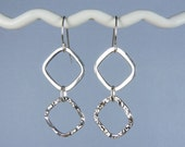 Large Sterling Silver Earrings with Hammered and Smooth Chain Links