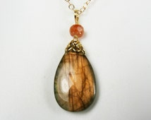 Labradorite Teardrop Necklace, Labradorite Pendant with Warm Coppery Peach Flash and Faceted Orange Sunstone Gem on a Gold Chain