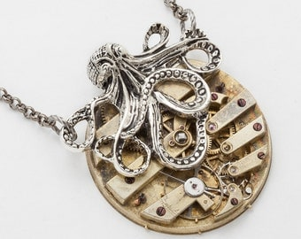Steampunk Silver Octopus Necklace Victorian gold key wind pocket watch movement pendant, Statement Necklace, jewelry by Steampunk Nation