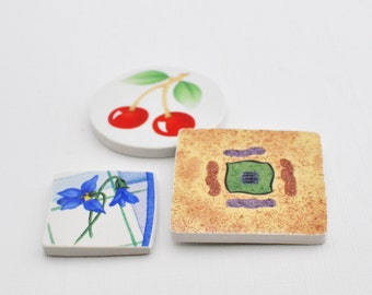 Broken China Mosaic Tiles - Cabochon -Recycled Plates - SouthWest - Flower - Fruit - Set of 3