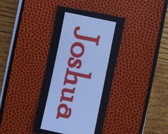 Handmade Personalized Basketball Note Cards or Basketball Coach Gift  -Set of 6 with envelopes