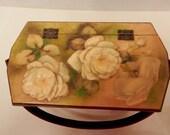 Wood Box Purse // Small White Roses Motif Mid Century Arts & Crafts