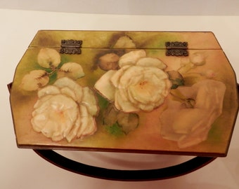 Wood Box Purse // Small White Roses Motif Mid Century Arts & Crafts