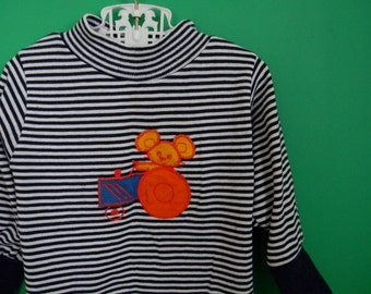 Vintage 1970s Striped Shirt with Mouse and Tractor Applique - Size 12 18 Months