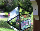 Stained Glass Beveled Glass Sun Catcher with Lead Crystal Orb Center
