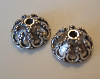 One Pair (2pcs) Intricately Detailed Sterling Silver Bali Bead Caps