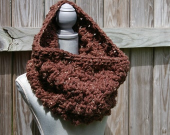 The Cozy Cowl  Scarf, Circle Scarf in Chocolate Brown Tweed Chunky Crochet