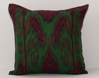 16x16 ikat pillow cover, cotton ikat, ikat, dark pillow, green ikat, throw pillow, accent pillow, green pillow, maroon, burgundy pillows