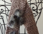 CLEARANCE SALE! Taupe With Faux Chinchilla Fur Pom Pom Knitted Scarf