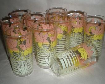 Set of 10 Vintage Drinking Glasses - 1940's