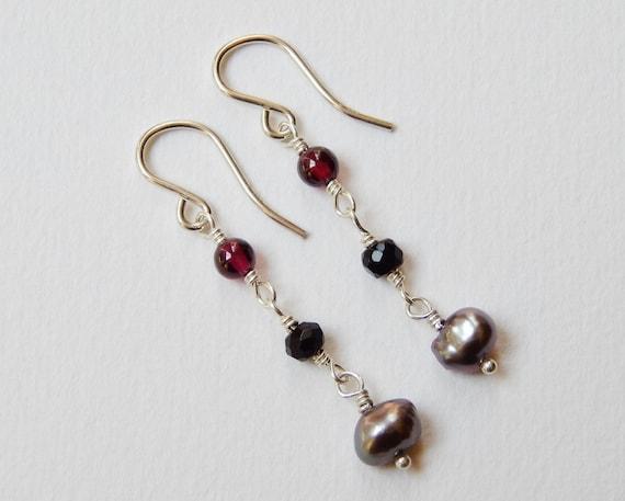 Garnet Onyx and Gray Pearl Earrings - Sterling Silver Beaded Dangle Earrings Beadwork Earrings