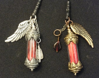 Final Fantasy Phoenix Down Phone Charm, Real Pewter Wing Accent and Gemstone Materia, Choose from 6 semi-precious stones