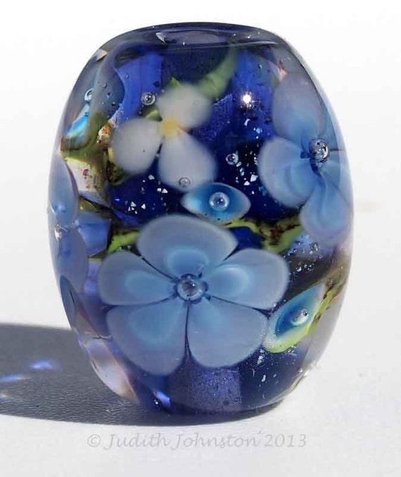 LAMPWORK FLORAL BEAD, Purple Sparkley Flower Focal Bead, Handmade British Lampwork by Judith Johnston