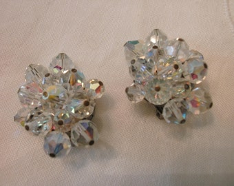 Made in Germany Aurora Borealis Clip Earrings FREE SHIPPING
