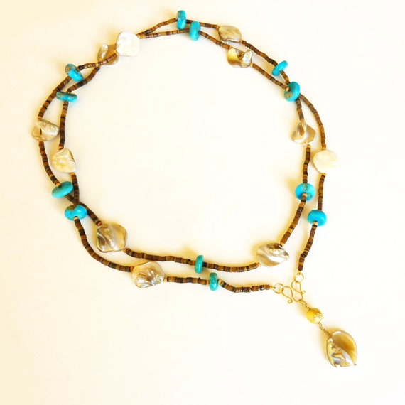Long Strand necklace, TURQUOISE, shell and 18K GOLD necklace, turquoise necklace, yellow gold
