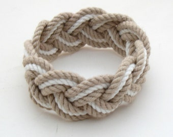 Rope Bracelet in Tan and White Cotton Sailor Weave