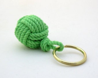 Nautical Monkey's Fist Keychain Lime Green Cotton Modern Style