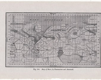1946 map of mars original vintage celestial astronomy print