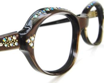 Vintage 1960s Oval Cat Eye Glasses Eyewear Frame France