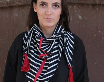LAST SALE 50% off!!!! Under 50, NEW stripes red line neckerchief with red pompons
