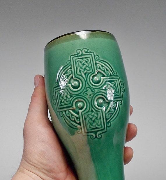 Celtic Cross Pilsner Beer Mug - Bar accessories, Costume Compliment, Gift - Forest Green Glaze (24oz) - Food Safe - Made to Order