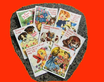 16 Thank You Cards. BUY up to 3 SETS of Vintage Style 16 Gift Tags With Notations, Animals, Children. 5043