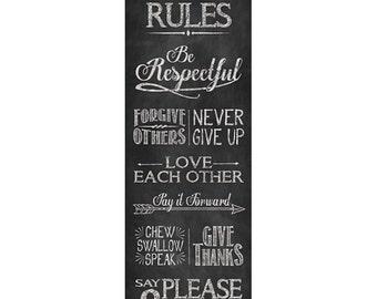 Chalkboard Print - 12x36 - House Rules - Chalk Art
