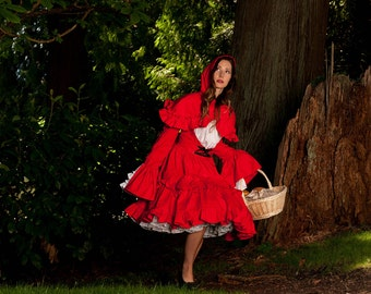 Little Red Riding Hood Halloween Costume Womens Adult Dress and Hooded Capelet Cape Cosplay Gothic Lolita Dress Handmade Custom Size Plus