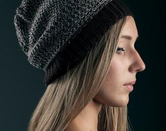knitted merino wool beanie color dark brown chocolate and grey